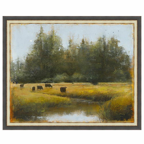 Grazing Cows Framed Canvas