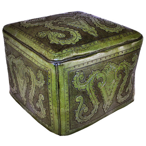 Green Colonial Large Ottoman