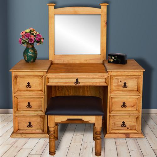 Gunnison Vanity with Mirror & Stool - Honey Finish