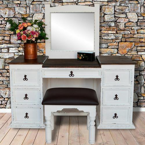 Gunnison Vanity with Mirror & Stool - White Finish