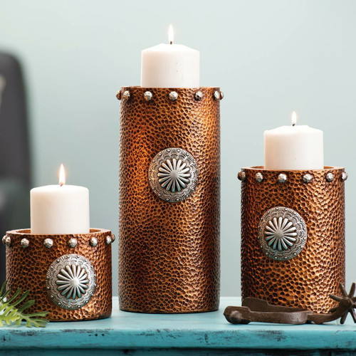 Hammered Copper Candle Holders - Set of 3 - OUT OF STOCK UNTIL 10/1/2021