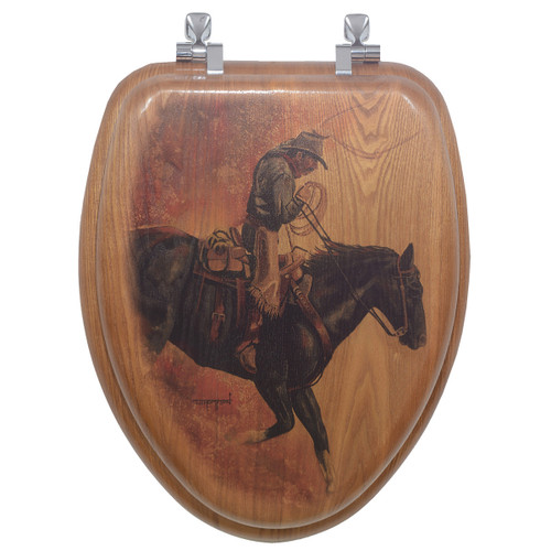 Hell Bent for Leather Wood Toilet Seat - Round
