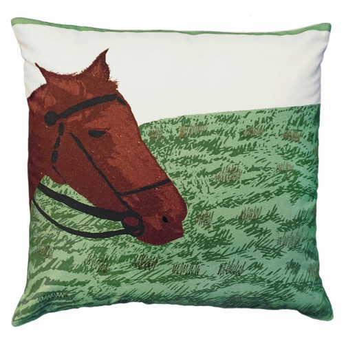 Horse in Field Embroidered Pillow