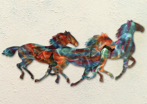 Horse Stampede Copper Patina Metal Wall Art