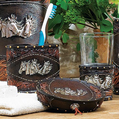 Horse Tooled Leather Bath Set (3 pcs)