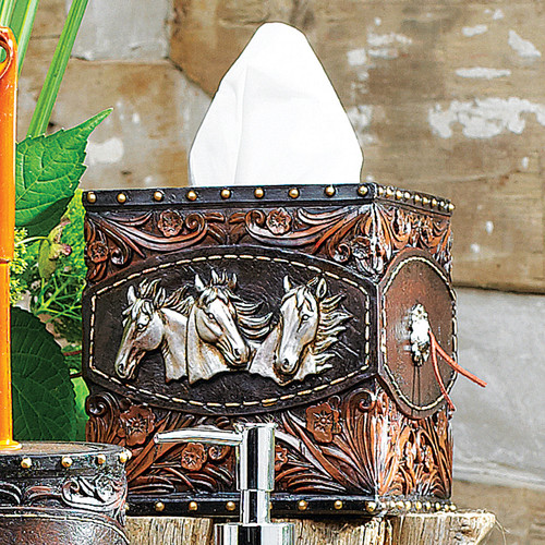 Horse Tooled Leather Tissue Box - BACKORDERED UNTIL 1/7/2022