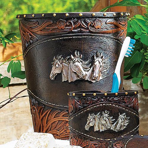 Horse Tooled Leather Waste Basket