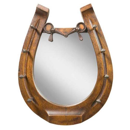 Horseshoe Mirror - Brushed Wood