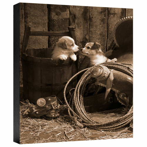 How Bout a Kiss Sepia Gallery Wrapped Canvas