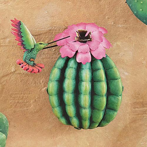 Hummingbird Cactus I 3-D Metal Wall Art