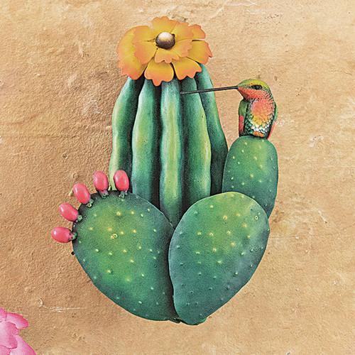 Hummingbird Cactus III 3-D Metal Wall Art