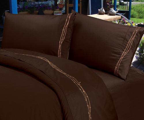 Barbwire Chocolate Sheet Set - Twin