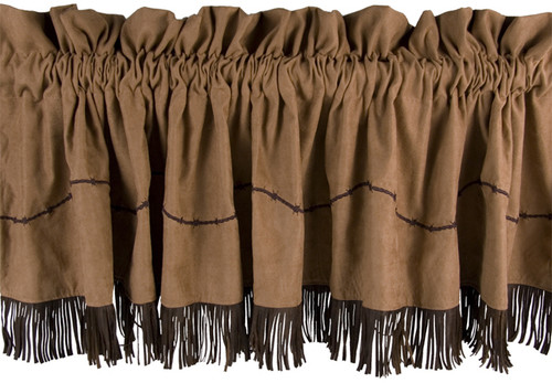 Embroidered Barbwire Valance with Fringe