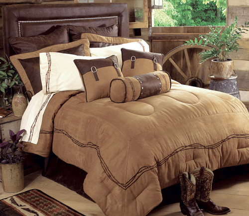 Embroidered Barbwire Bed Set - Super Queen