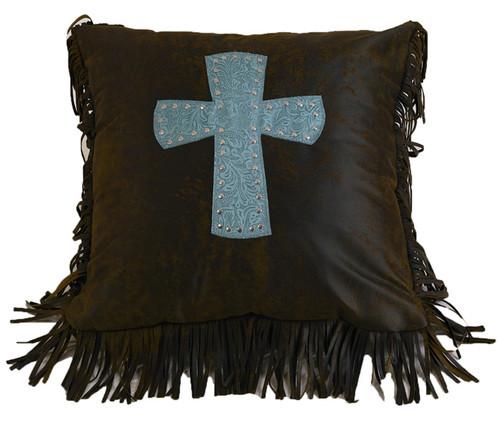 Cheyenne Turquoise Cross Pillow
