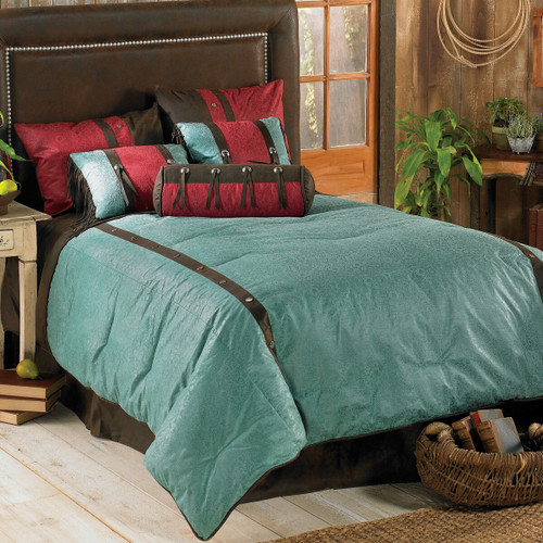 Cheyenne Turquoise Bed Set - Super Queen