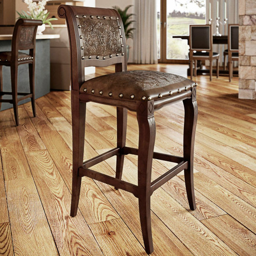 Imperial Counter Stool with Tooled Leather - Set of 2