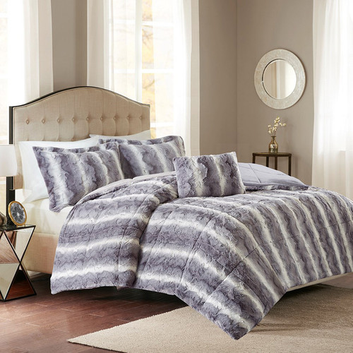 Jackson Gray Faux Fur Bed Set - King