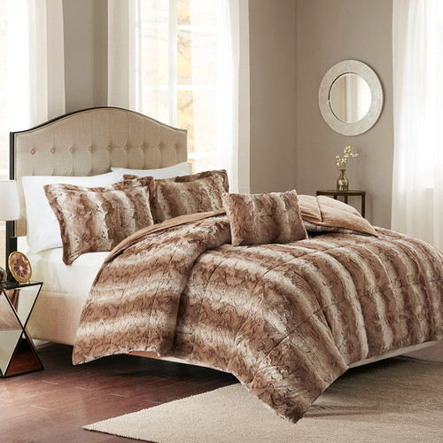 Jackson Tan Faux Fur Bed Set - King
