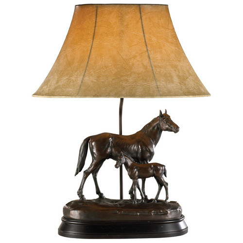 Just Like Dad Horse Lamp with Faux Leather Shade