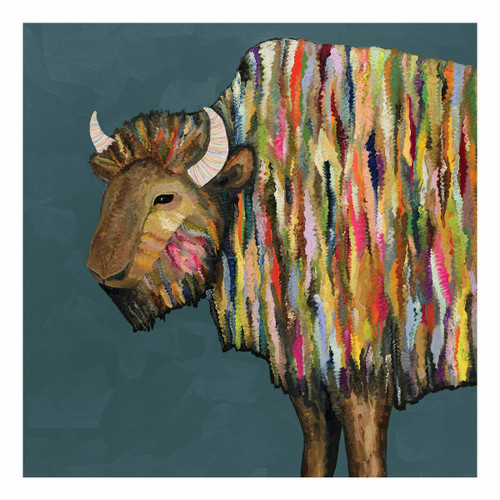 Kaleidoscope Bison Canvas Art - 39 x 39