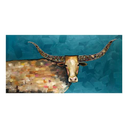 Kaleidoscope Longhorn Canvas Art - 36 x 18