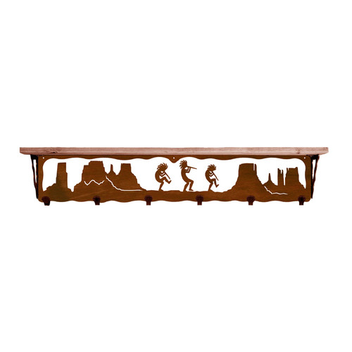 Kokopelli 42 Inch Pine Hook Shelf