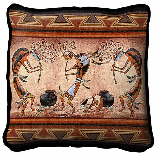 Kokopelli Pot Dance Pillow