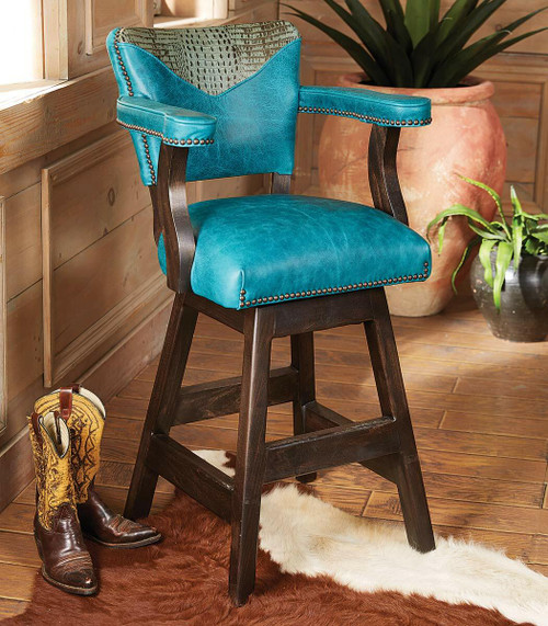 Laramie Plains Barstool with Turquoise Leather