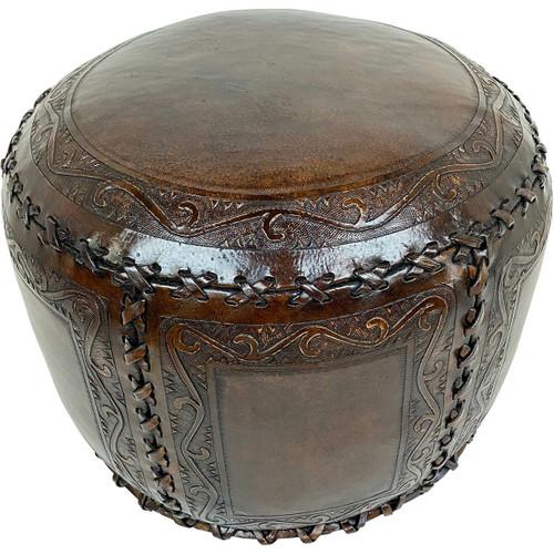 Large Round Classic Stitch Ottoman - Antique Brown
