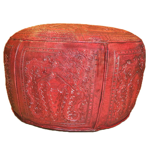 Large Ottoman Round Red