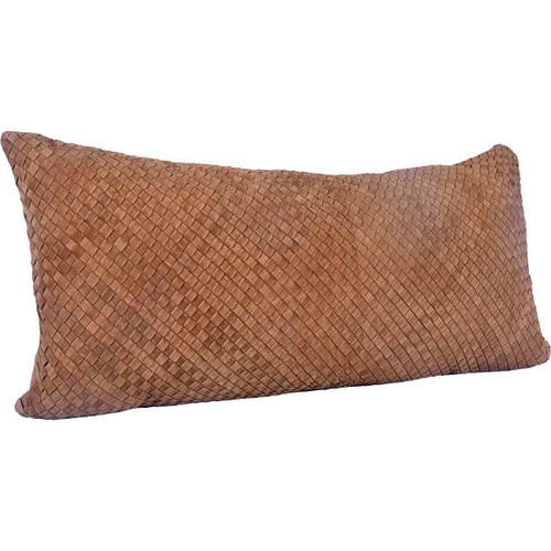 Leather Woven Lumbar Pillow - BACKORDERED UNTIL 10/5/2021