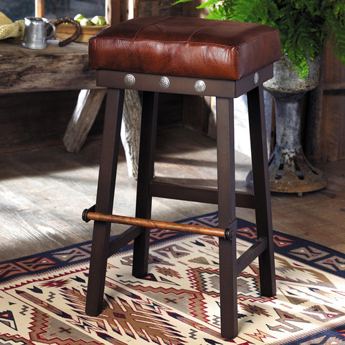 Leather and Iron Barstool with Silver Conchos - 24 Inch