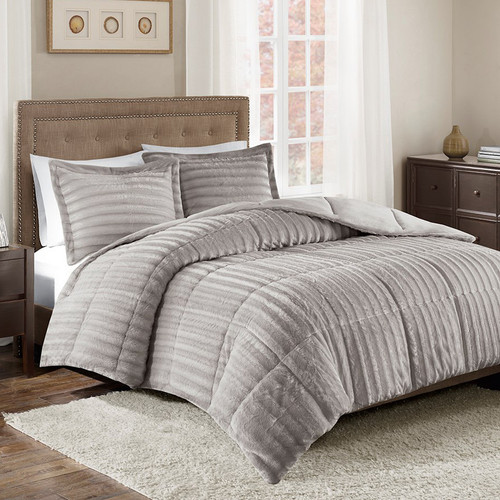 Logan Gray Faux Fur Comforter Set - Queen