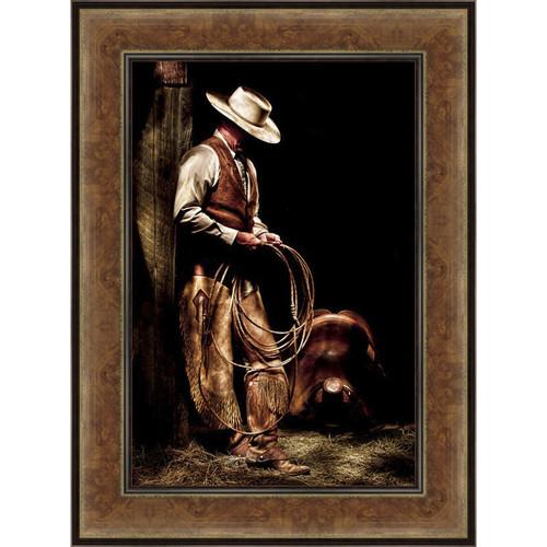 Lone Cowboy Hideaway Framed Canvas