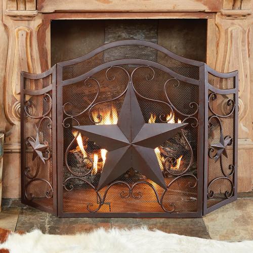 Lone Star & Scroll Fireplace Screen