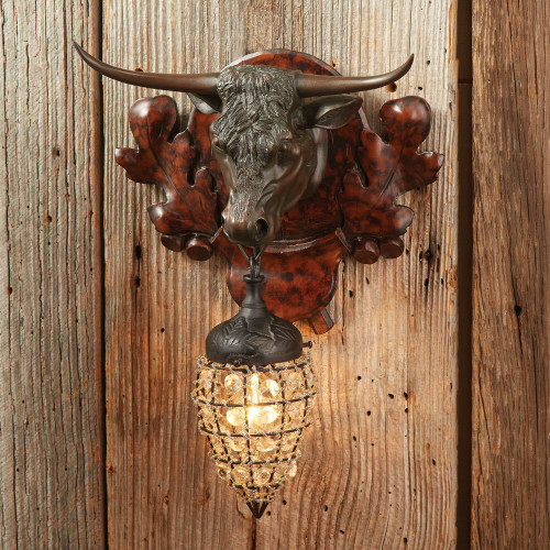 Longhorn Wall Sconce with Crystal Bead and Wire Globe
