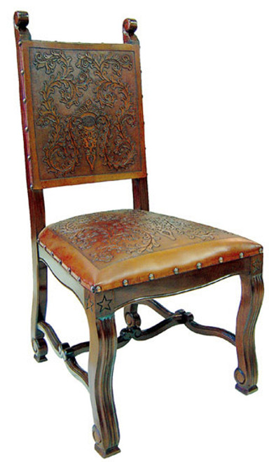 Lucia Tooled Leather Chairs (set of 4)
