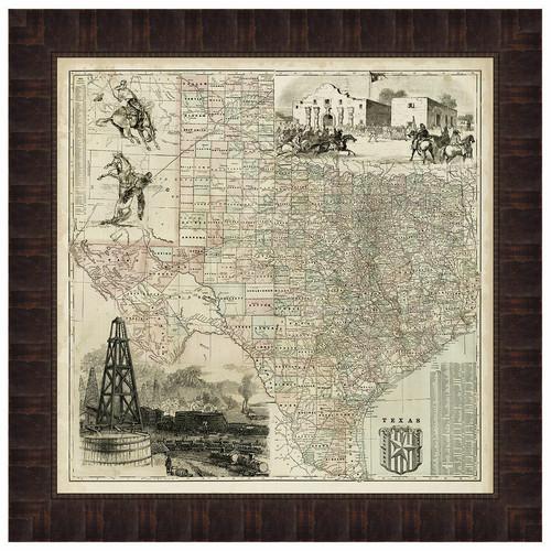 Map of Texas Framed Print
