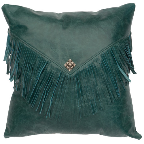 Maya Peacock Leather Fabric Back Pillow