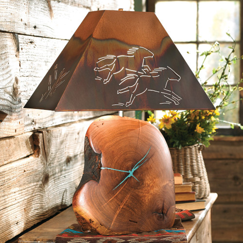 Mesquite Turquoise Lamp with Copper Horse Shade - 32 Inch