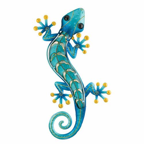 Metal Gecko Wall Art - Blue