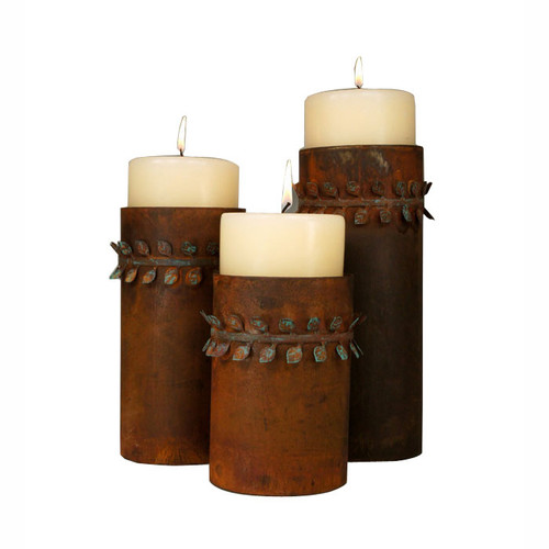 Metal Leaf Band Candle Holder Set with Pillar Candles