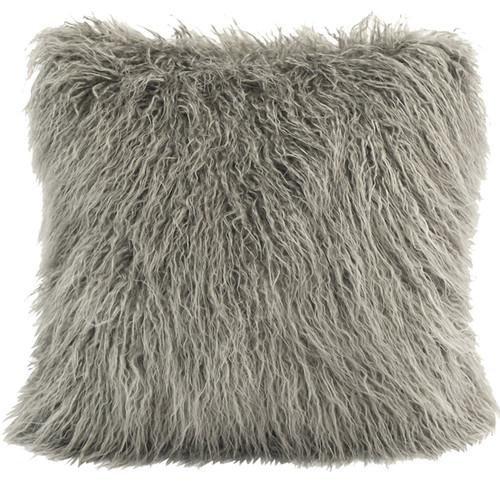 Mongolian Gray Faux Fur Pillow