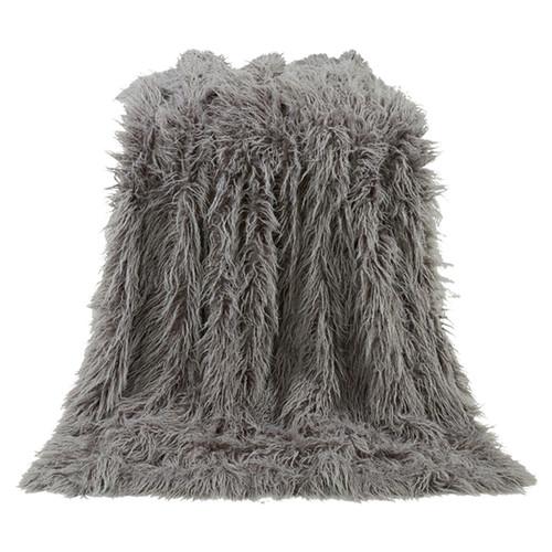 Mongolian Gray Faux Fur Throw