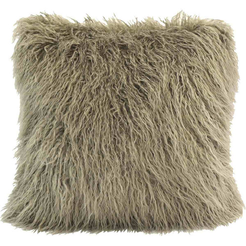 Mongolian Taupe Faux Fur Pillow