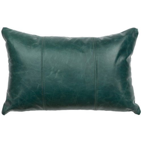 Mountain Sierra Peacock Leather Pillow with Fabric Back