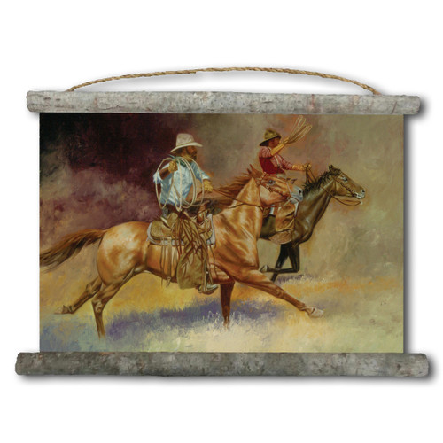 Moving Out Cowboy Canvas Wall Scroll