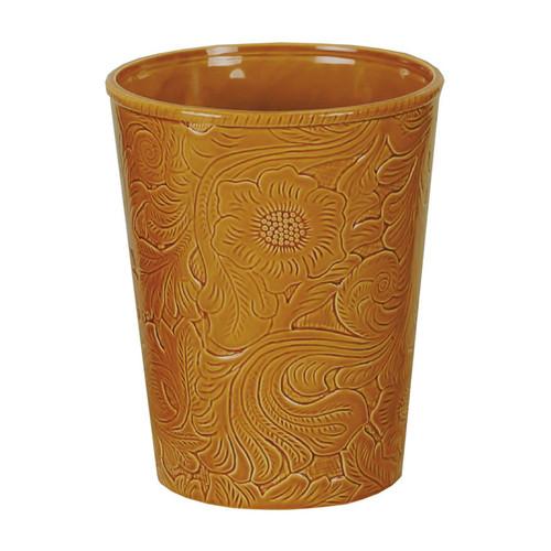 Mustard Tooled Ceramic Waste Basket
