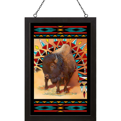 Native Bison Stained Glass Art
